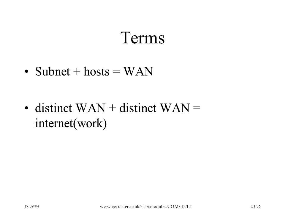 19/09/04 www.eej.ulster.ac.uk/~ian/modules/COM342/L1 L1/35 Terms Subnet + hosts = WAN distinct WAN + distinct WAN = internet(work)