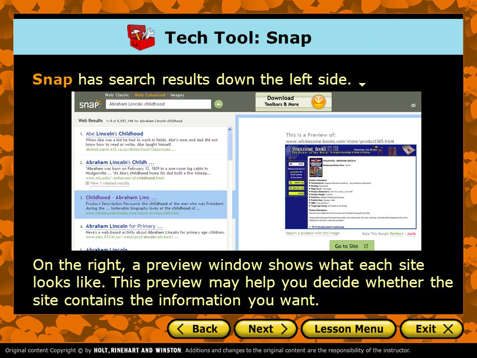 Tech Tool: Snap Snap has search results down the left side.