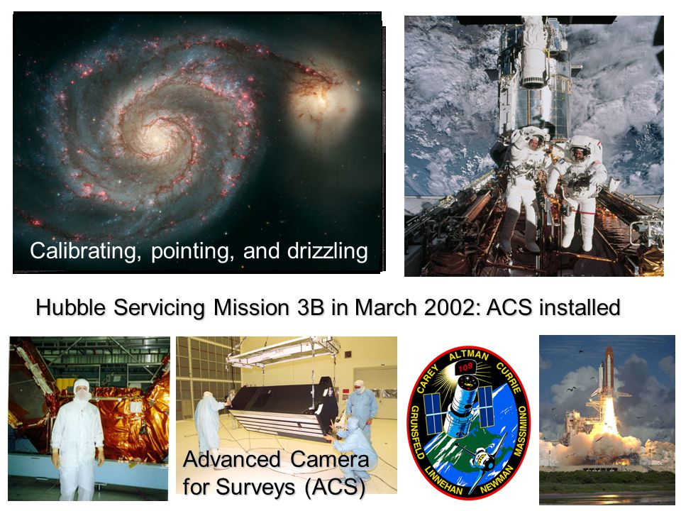 Advanced Camera for Surveys (ACS) Hubble Servicing Mission 3B in March 2002: ACS installed Calibrating, pointing, and drizzling