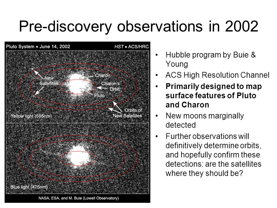Pre-discovery observations in 2002 Hubble program by Buie & Young ACS High Resolution Channel Primarily designed to map surface features of Pluto and Charon New moons marginally detected Further observations will definitively determine orbits, and hopefully confirm these detections: are the satellites where they should be