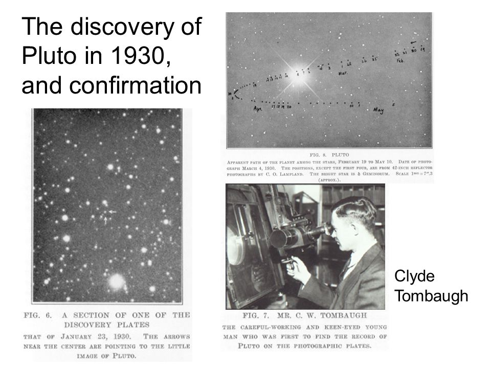 The discovery of Pluto in 1930, and confirmation Clyde Tombaugh