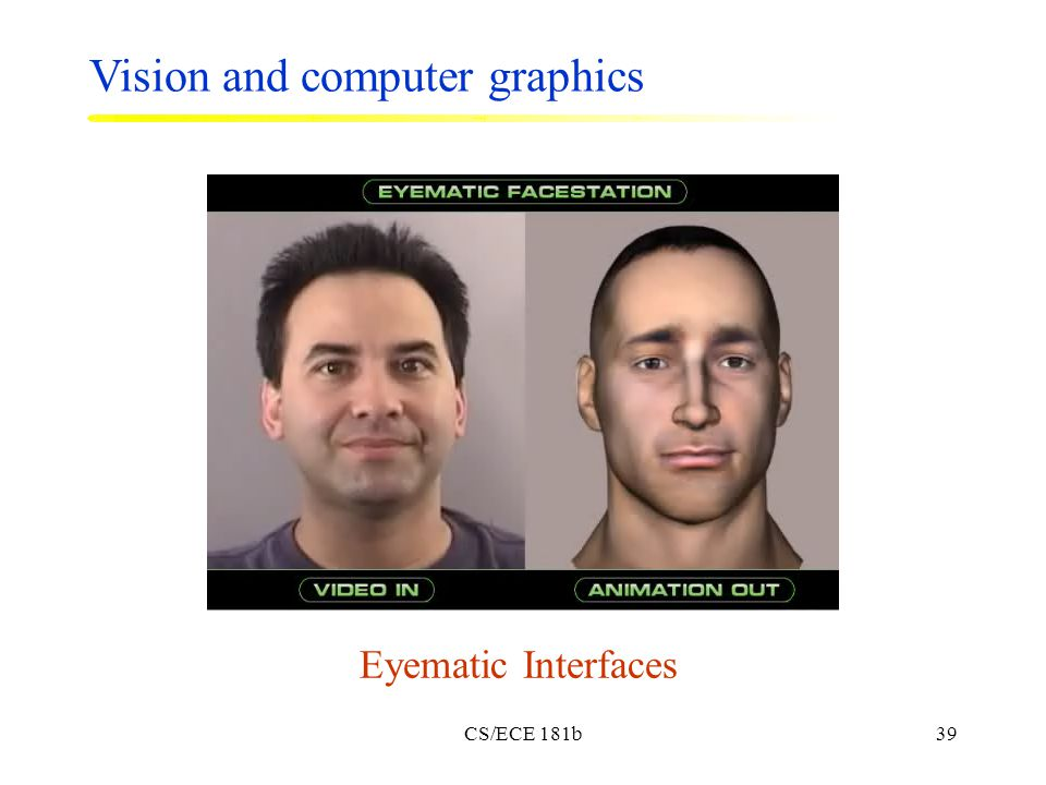 CS/ECE 181b39 Eyematic Interfaces Vision and computer graphics