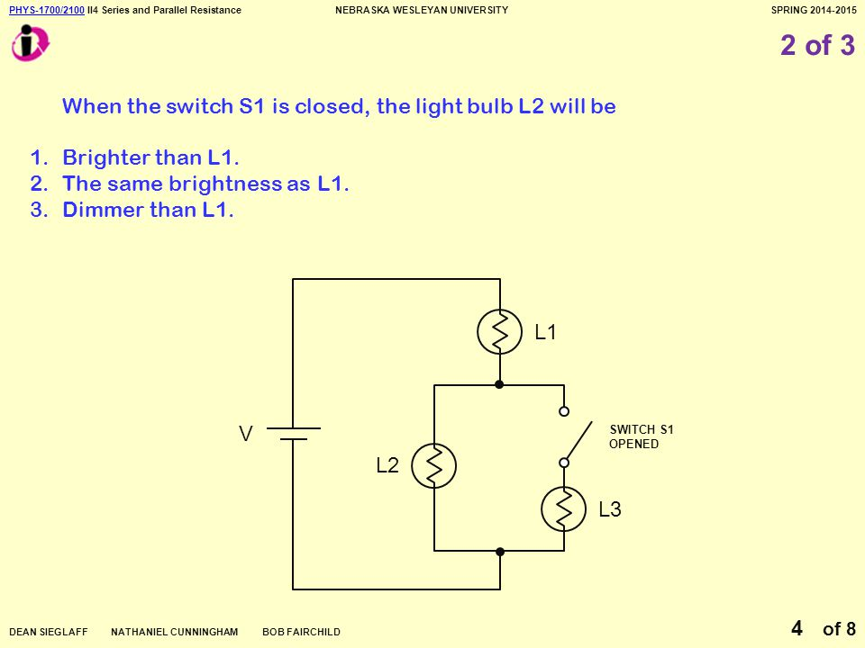 PHYS-1700/2100PHYS-1700/2100 II4 Series and Parallel ResistanceNEBRASKA WESLEYAN UNIVERSITYSPRING 2014-2015 DEAN SIEGLAFF NATHANIEL CUNNINGHAM BOB FAIRCHILD of 8 4 2 of 3 When the switch S1 is closed, the light bulb L2 will be 1.Brighter than L1.