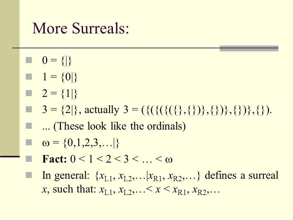 Negative Surreals: 0 = {|},  1 = {|0},  2 = {|  1},  3 = {|  2}...