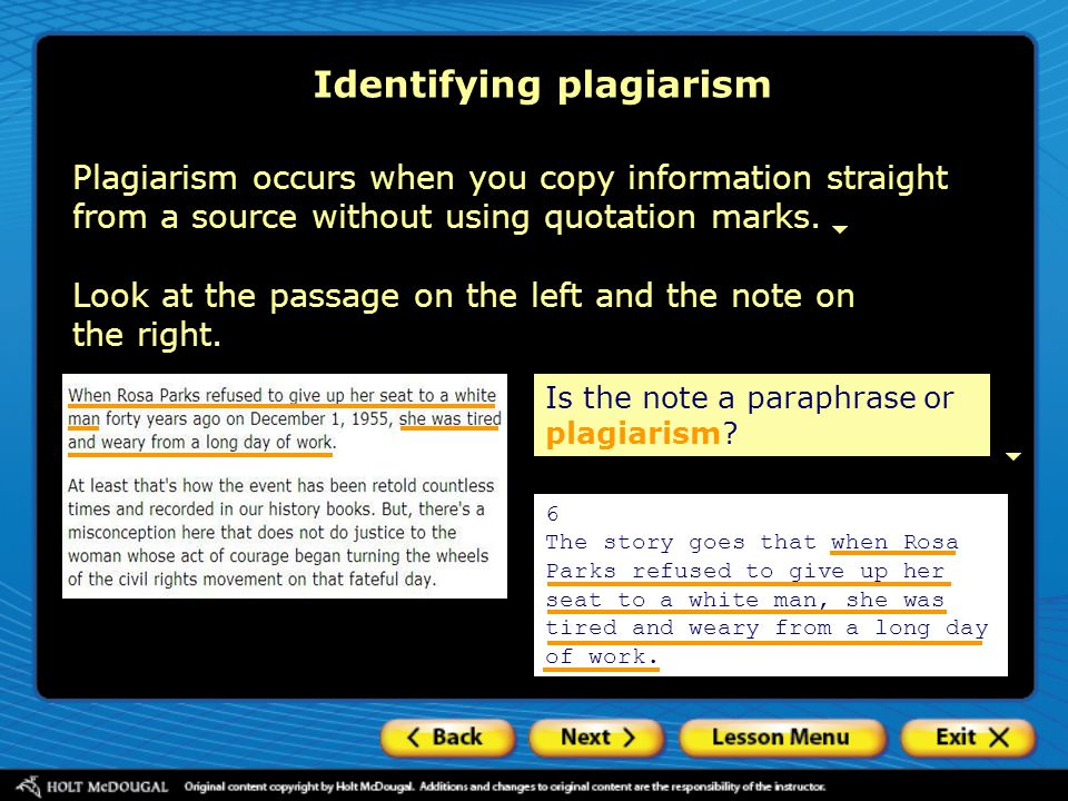 Your Turn 1.Notecard with plagiarism: 2.This notecard is an example of plagiarism because: 3.Correct notecard: 4.This information is not an example of plagiarism because: