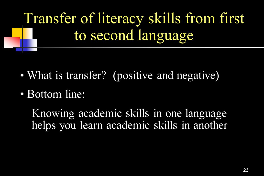 23 Transfer of literacy skills from first to second language What is transfer? (positive and negative) Bottom line: Knowing academic skills in one lan