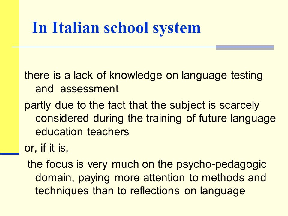 The research context in Italy increasing presence of pupils who are the children of immigrant workers the arrival of foreign students is having the consequence of leading reflections towards the question of teaching, learning and assessing Italian not only as L2, but also as L1