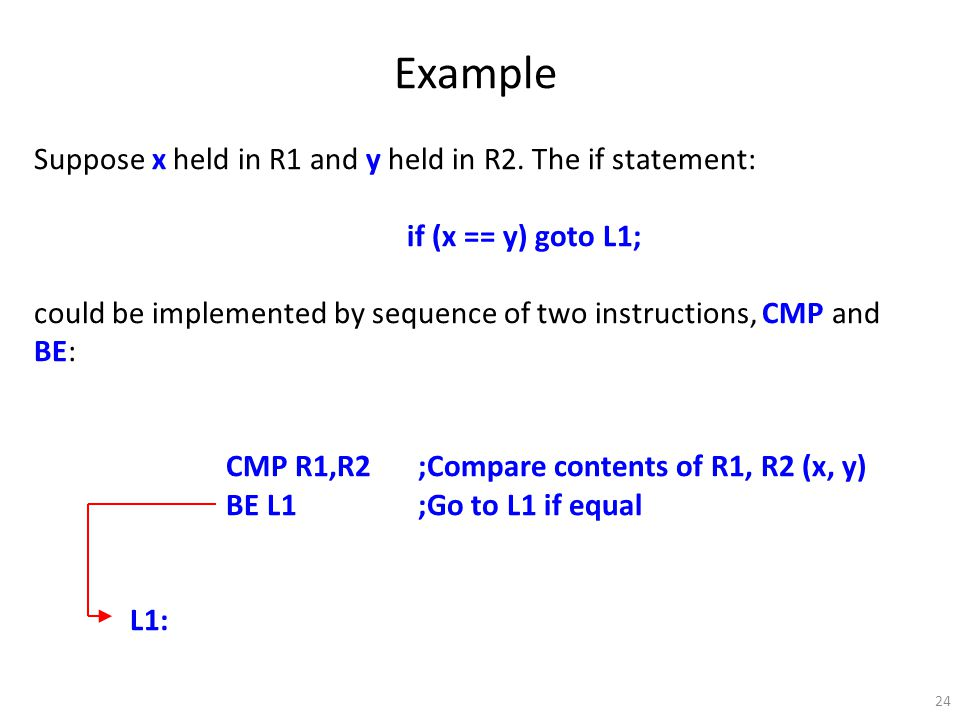 24 Example Suppose x held in R1 and y held in R2.