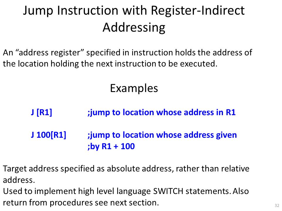 32 Jump Instruction with Register-Indirect Addressing An address register specified in instruction holds the address of the location holding the next instruction to be executed.