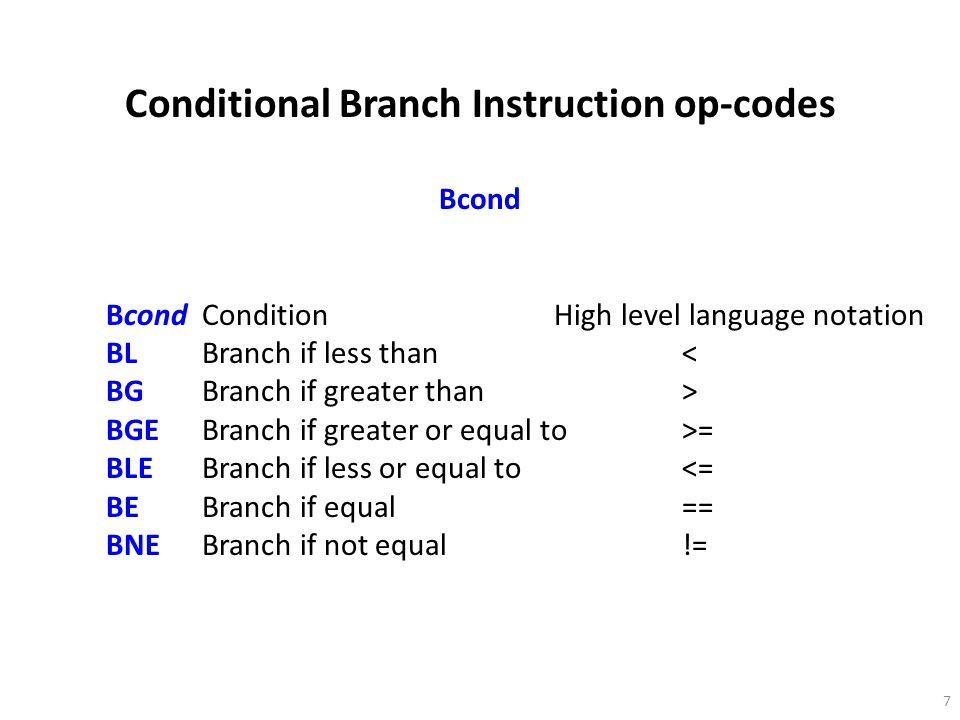 28 Leads to: CMP R1,R2;Compare R1, R2 (x, y) BL L1;Go to L1 if a less than b MOV R1, R3;a = c L1:MOV R3,R1;c = a; L2:...