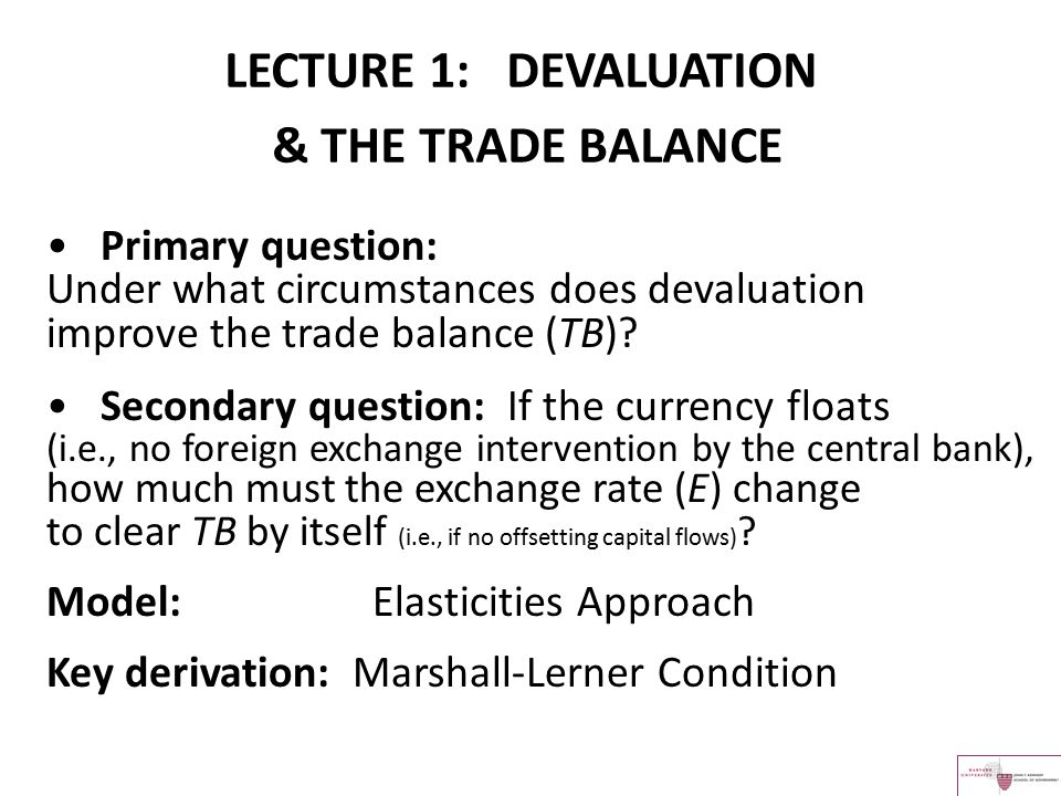 Primary question: Under what circumstances does devaluation improve the trade balance (TB)? Secondary question: If the currency floats (i.e., no forei