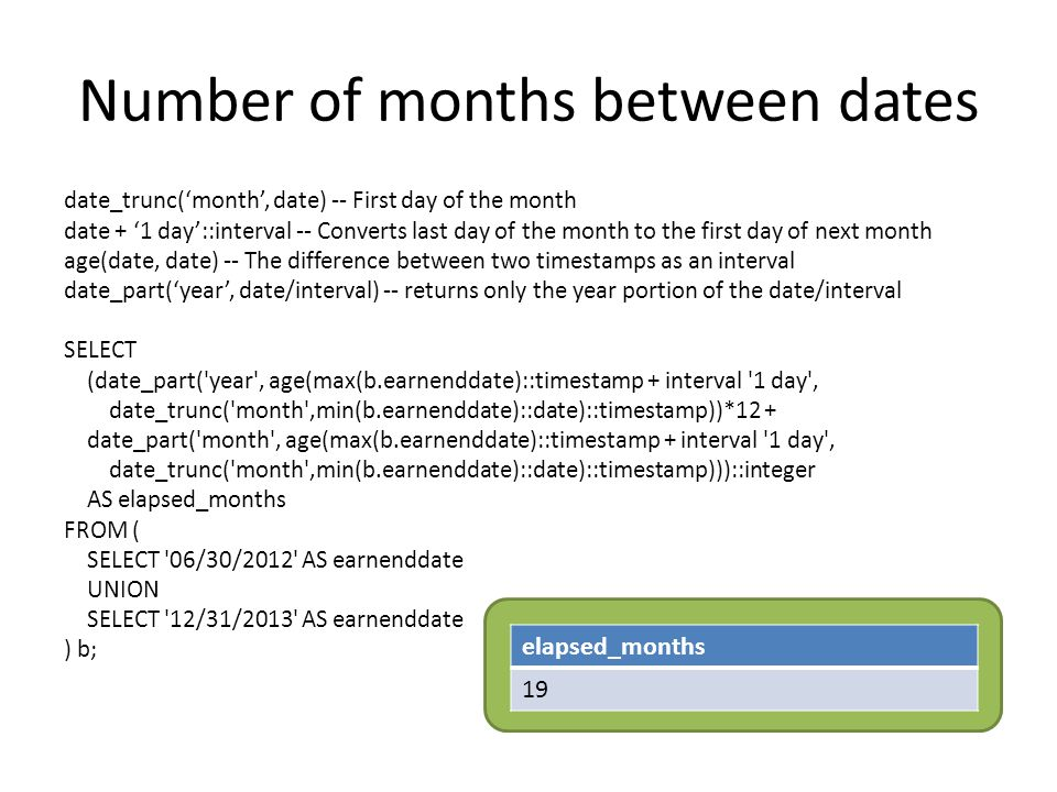 Number of months between dates date_trunc('month', date) -- First day of the month date + '1 day'::interval -- Converts last day of the month to the first day of next month age(date, date) -- The difference between two timestamps as an interval date_part('year', date/interval) -- returns only the year portion of the date/interval SELECT (date_part( year , age(max(b.earnenddate)::timestamp + interval 1 day , date_trunc( month ,min(b.earnenddate)::date)::timestamp))*12 + date_part( month , age(max(b.earnenddate)::timestamp + interval 1 day , date_trunc( month ,min(b.earnenddate)::date)::timestamp)))::integer AS elapsed_months FROM ( SELECT 06/30/2012 AS earnenddate UNION SELECT 12/31/2013 AS earnenddate ) b; elapsed_months 19