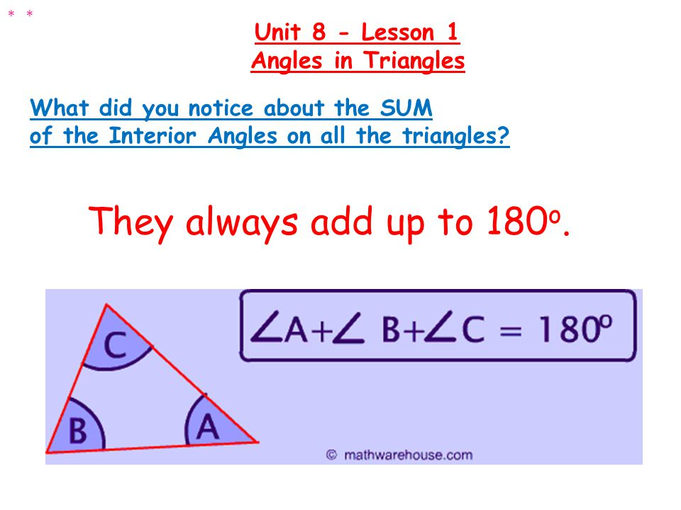 Determine the missing angle: Unit 8 - Lesson 1 Angles in Triangles