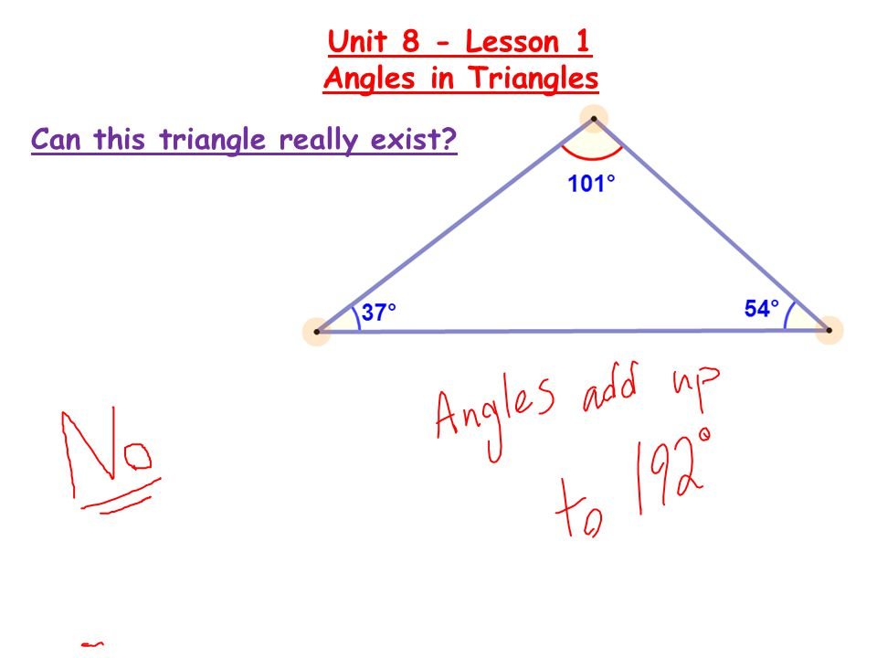 Write a relationship for the measures of the angles: Unit 8 - Lesson 1 Angles in Triangles Can we determine the measures of ∠ a and ∠ b