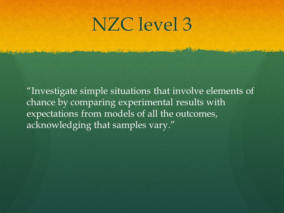 NZC level 3 Investigate simple situations that involve elements of chance by comparing experimental results with expectations from models of all the outcomes, acknowledging that samples vary.