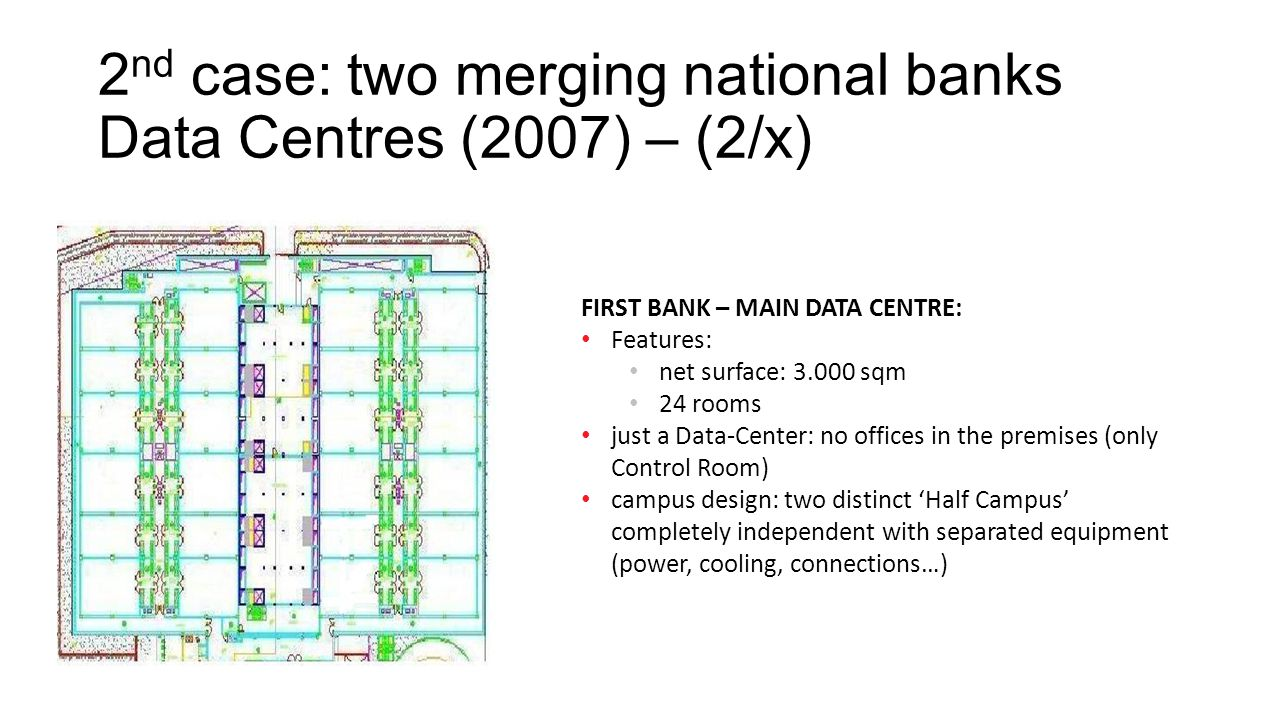 2 nd case: two merging national banks Data Centres (2007) – (2/x) FIRST BANK – MAIN DATA CENTRE: Features: net surface: 3.000 sqm 24 rooms just a Data-Center: no offices in the premises (only Control Room) campus design: two distinct 'Half Campus' completely independent with separated equipment (power, cooling, connections…)