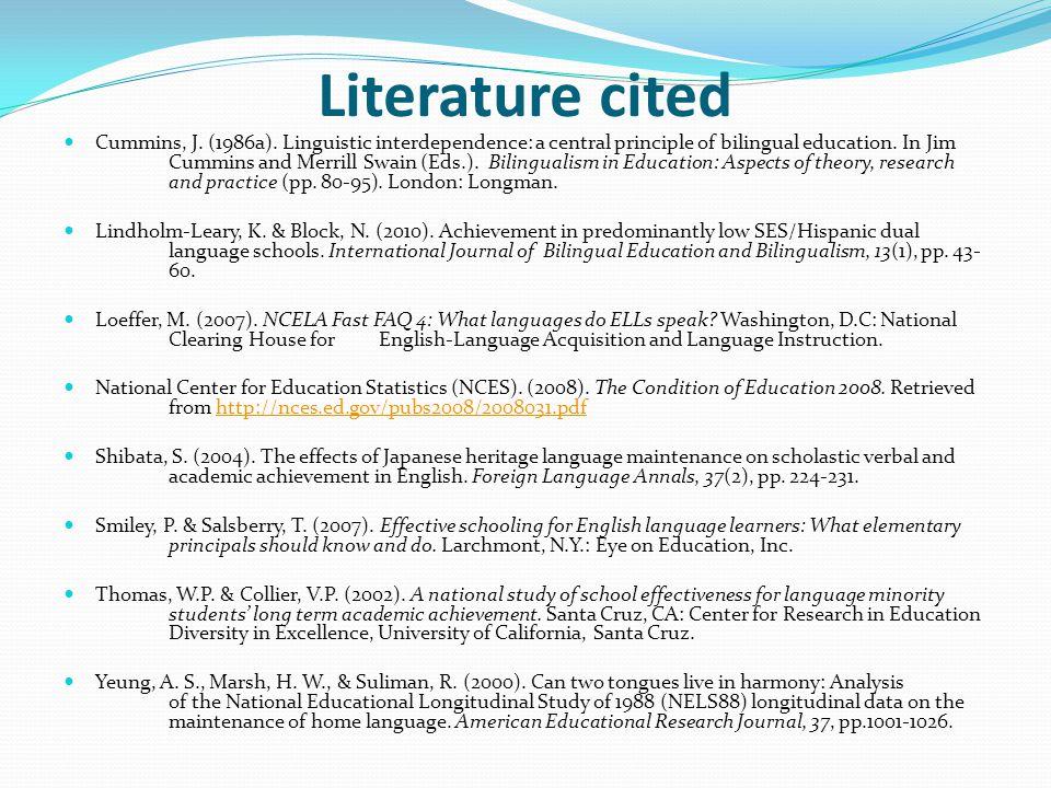 Literature cited Cummins, J.(1986a).