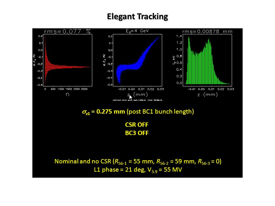Nominal and no CSR (R 56-1 = 55 mm, R 56-2 = 59 mm, R 56-3 = 0) L1 phase = 21 deg, V 3.9 = 55 MV CSR OFF BC3 OFF Elegant Tracking  z1 = 0.275 mm (post BC1 bunch length)