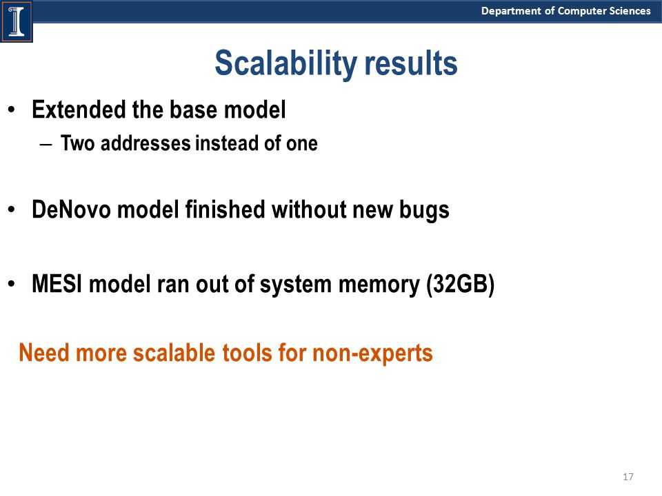 Department of Computer Sciences Scalability results Extended the base model – Two addresses instead of one DeNovo model finished without new bugs MESI