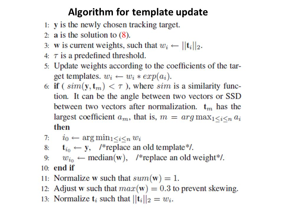 Algorithm for template update