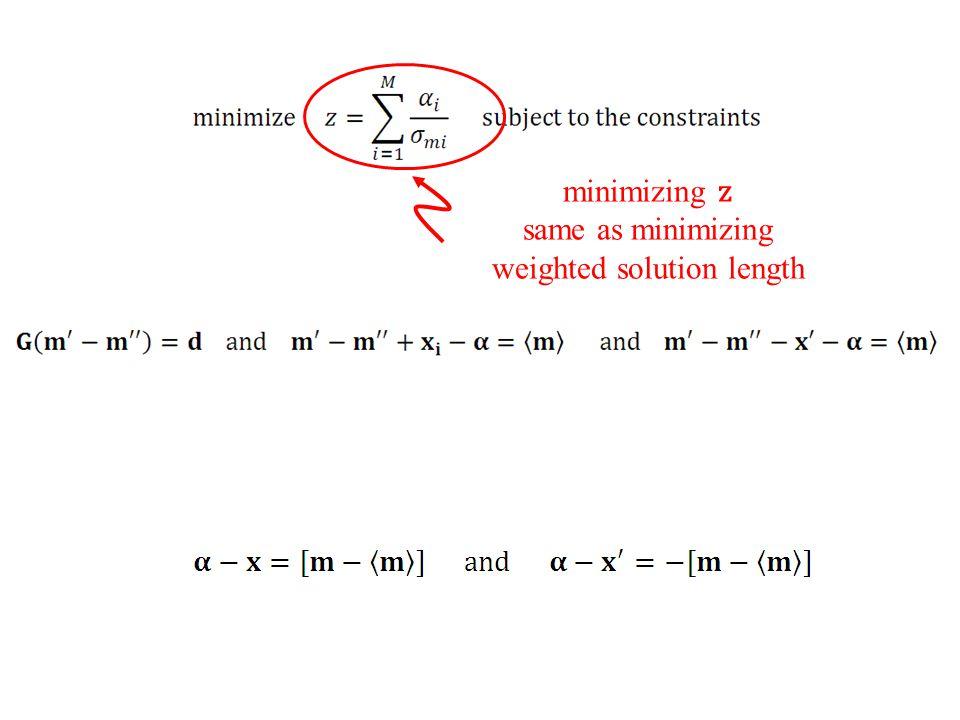 minimizing z same as minimizing weighted solution length