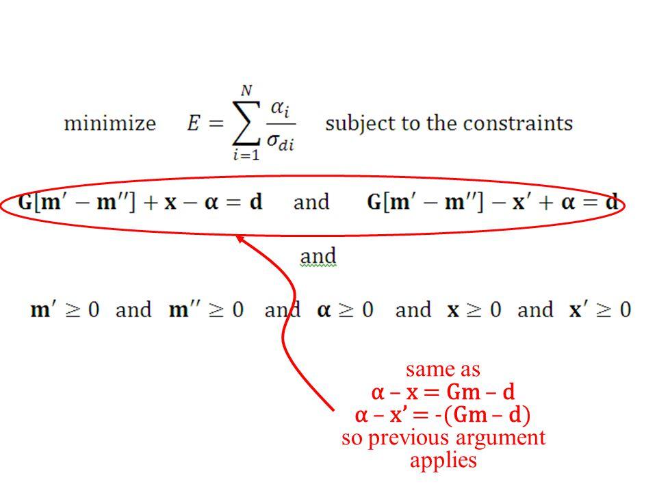 same as α – x = Gm – d α – x' = -(Gm – d) so previous argument applies