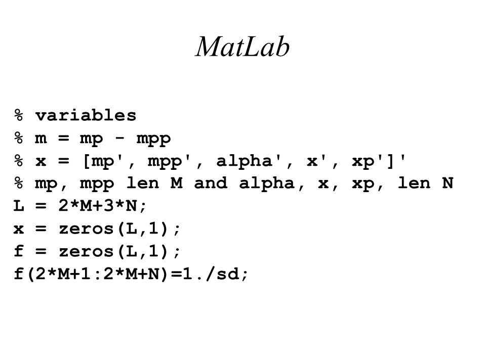 MatLab % variables % m = mp - mpp % x = [mp', mpp', alpha', x', xp']' % mp, mpp len M and alpha, x, xp, len N L = 2*M+3*N; x = zeros(L,1); f = zeros(L