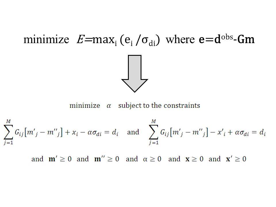 minimize E=max i (e i /σ di ) where e=d obs -Gm