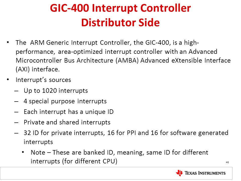 GIC-400 Interrupt Controller Distributor Side The ARM Generic Interrupt Controller, the GIC-400, is a high- performance, area-optimized interrupt cont