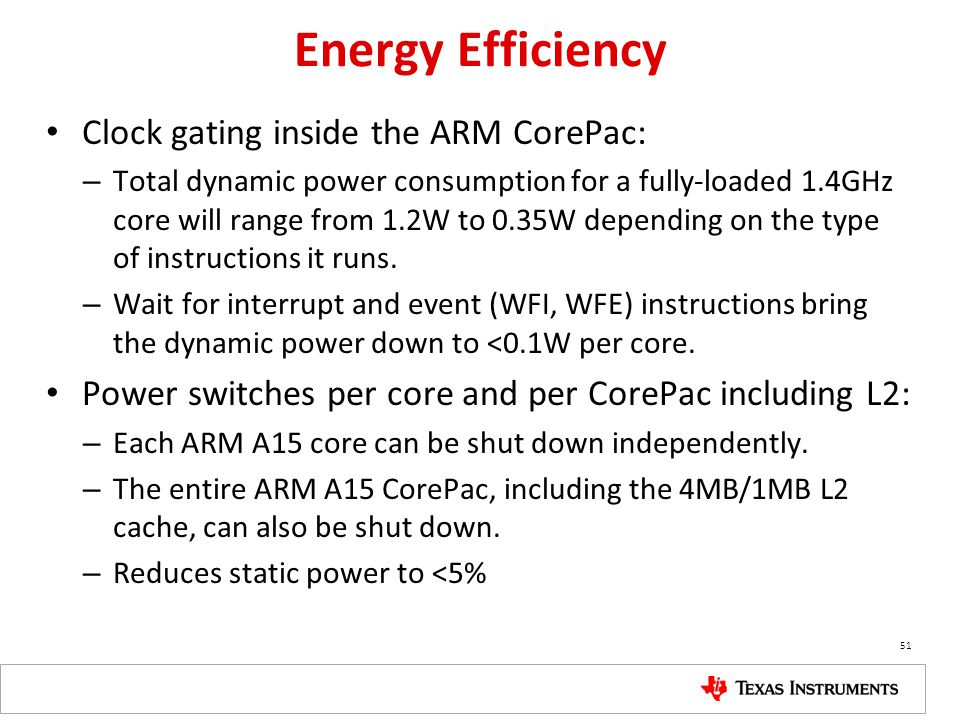 Energy Efficiency Clock gating inside the ARM CorePac: – Total dynamic power consumption for a fully-loaded 1.4GHz core will range from 1.2W to 0.35W