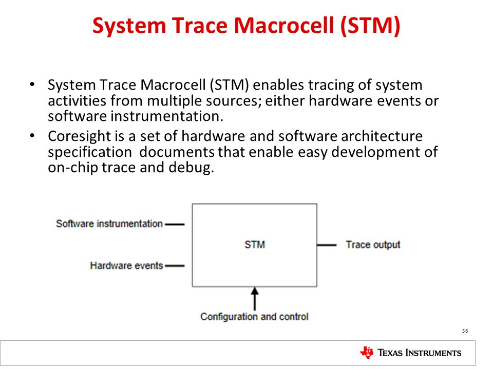 System Trace Macrocell (STM) System Trace Macrocell (STM) enables tracing of system activities from multiple sources; either hardware events or softwa