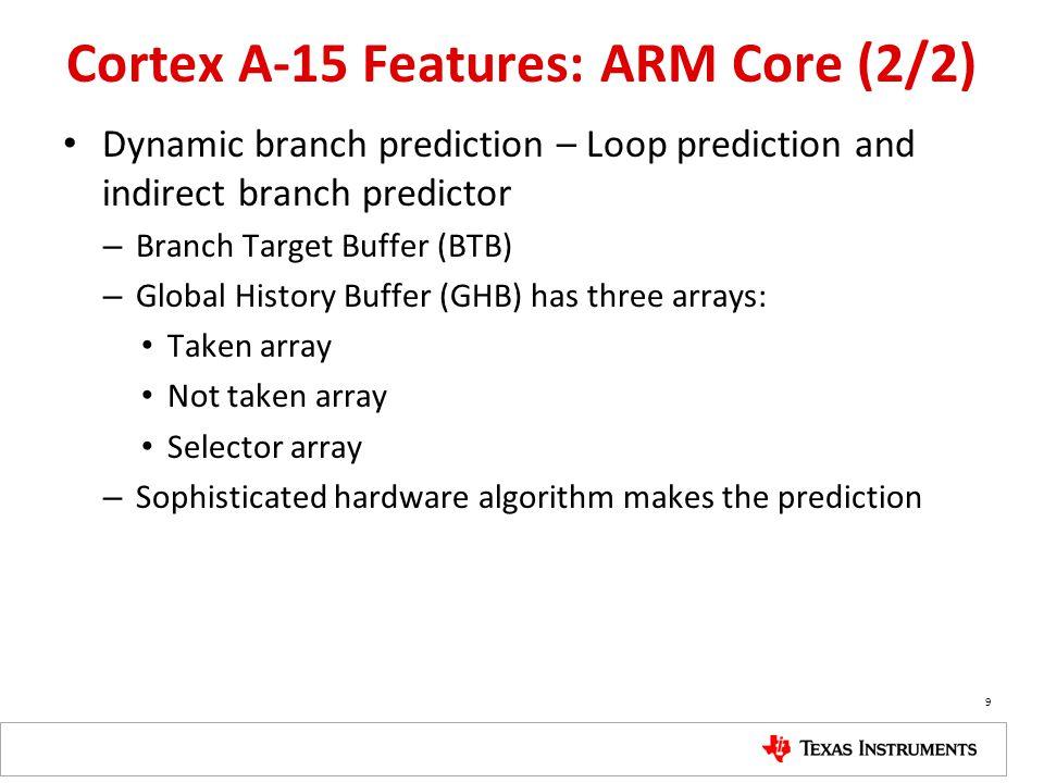 Cortex A-15 Features: ARM Core (2/2) Dynamic branch prediction – Loop prediction and indirect branch predictor – Branch Target Buffer (BTB) – Global H