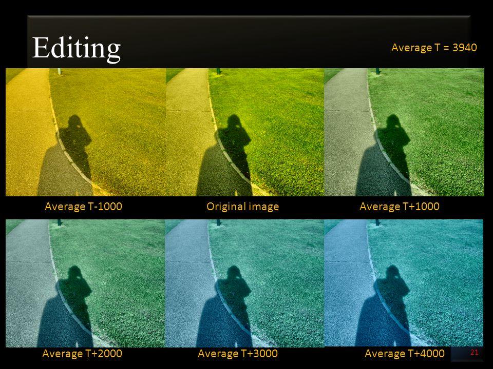 Editing 21 Original imageAverage T-1000Average T+1000 Average T+2000Average T+3000Average T+4000 Average T = 3940