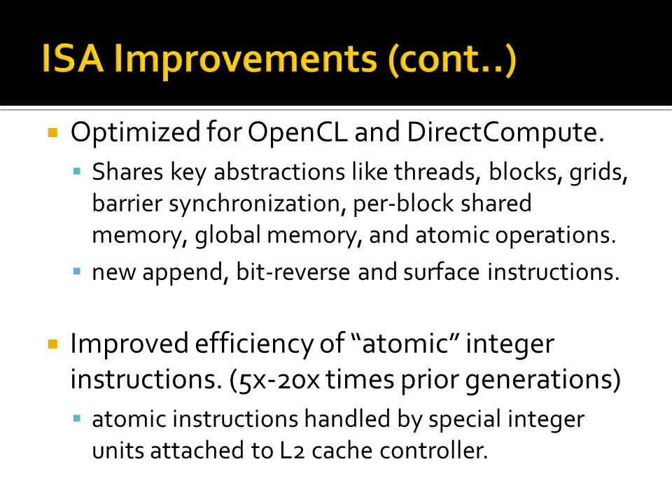  Optimized for OpenCL and DirectCompute.