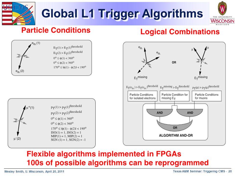 Wesley Smith, U. Wisconsin, April 20, 2011 Texas A&M Seminar: Triggering CMS - 28 Global L1 Trigger Algorithms
