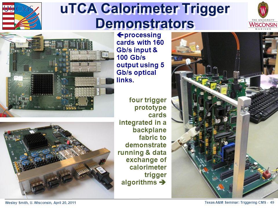 Wesley Smith, U. Wisconsin, April 20, 2011 Texas A&M Seminar: Triggering CMS - 49 uTCA Calorimeter Trigger Demonstrators  processing cards with 160 G