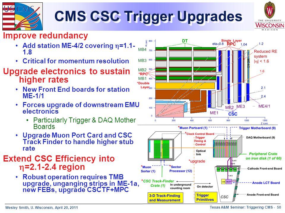 Wesley Smith, U. Wisconsin, April 20, 2011 Texas A&M Seminar: Triggering CMS - 50 CMS CSC Trigger Upgrades Improve redundancy Add station ME-4/2 cover