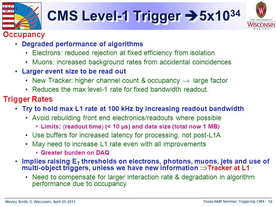 Wesley Smith, U. Wisconsin, April 20, 2011 Texas A&M Seminar: Triggering CMS - 52 CMS Level-1 Trigger  5x10 34 Occupancy Degraded performance of algo
