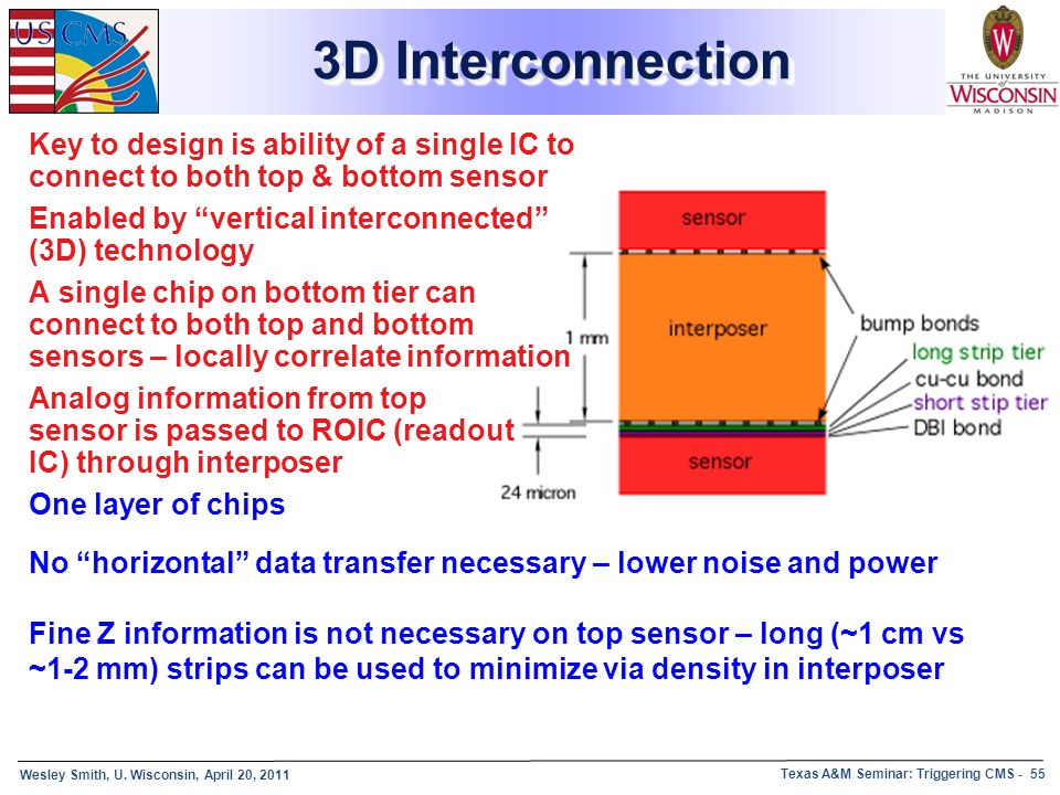 Wesley Smith, U. Wisconsin, April 20, 2011 Texas A&M Seminar: Triggering CMS - 55 3D Interconnection Key to design is ability of a single IC to connec