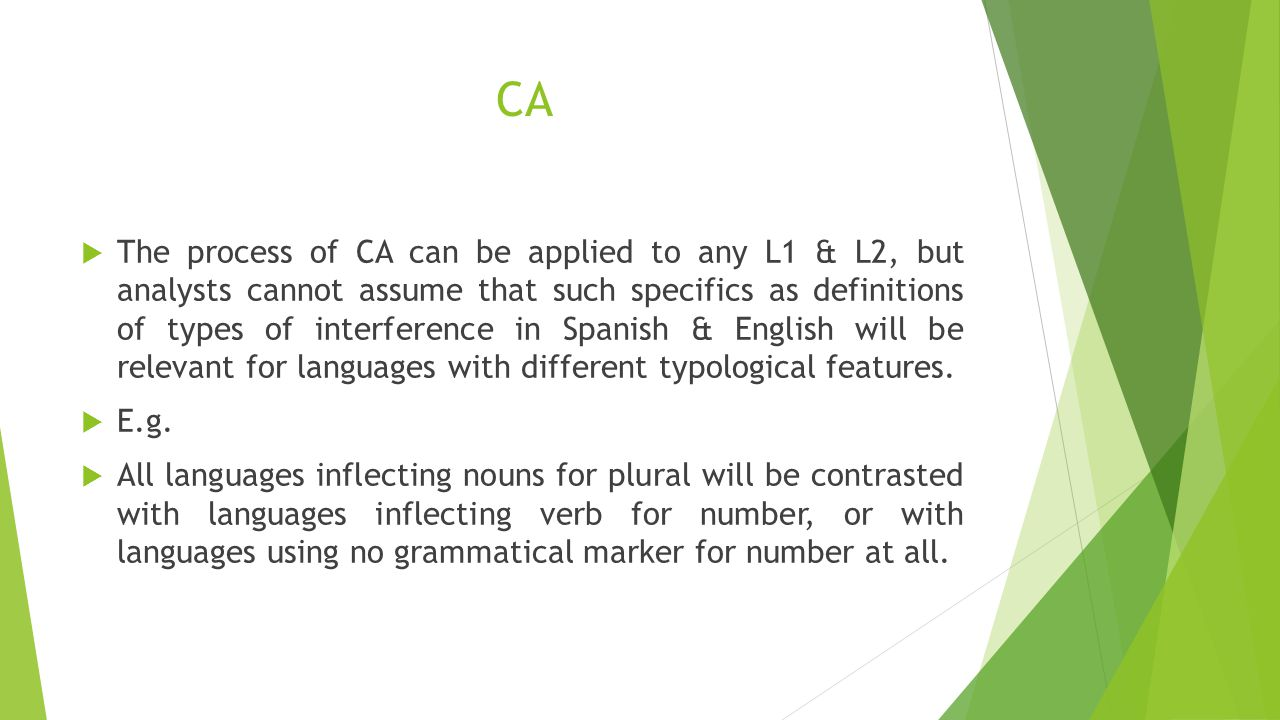 CA  The process of CA can be applied to any L1 & L2, but analysts cannot assume that such specifics as definitions of types of interference in Spanis