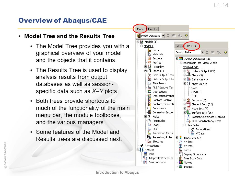L1.14 Introduction to Abaqus Overview of Abaqus/CAE Model Tree and the Results Tree The Model Tree provides you with a graphical overview of your mode