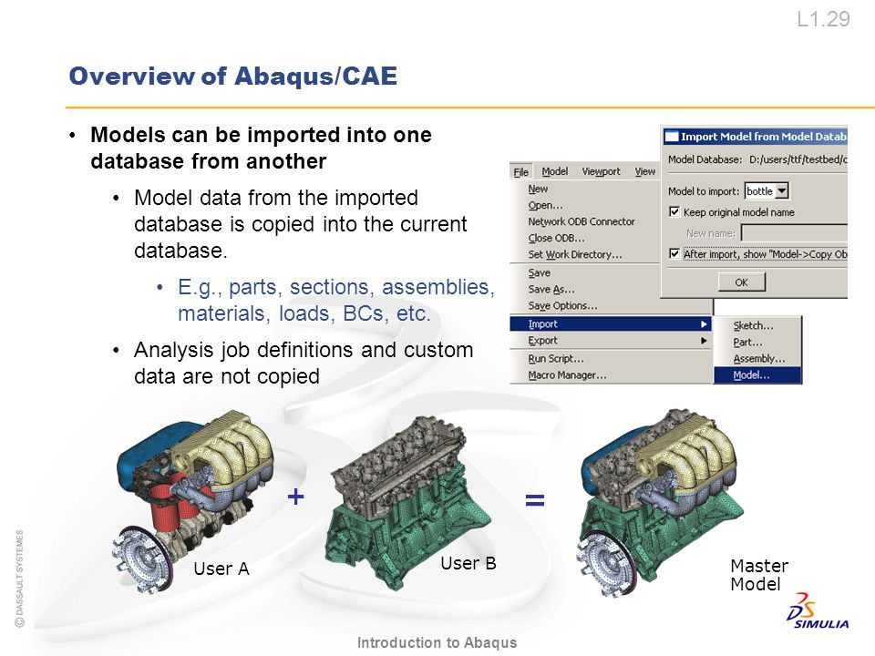 L1.29 Introduction to Abaqus Overview of Abaqus/CAE Models can be imported into one database from another Model data from the imported database is cop