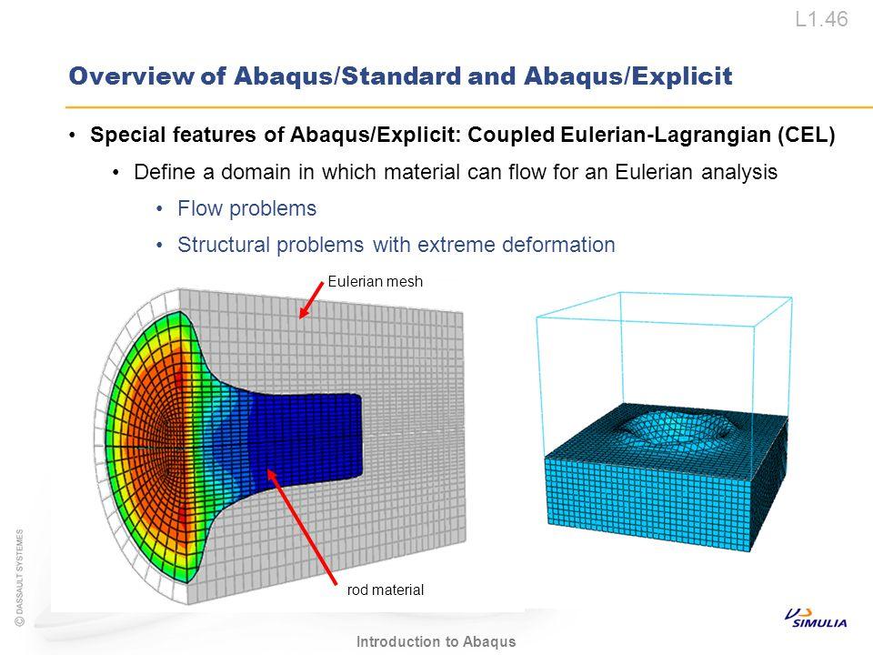 L1.46 Introduction to Abaqus Overview of Abaqus/Standard and Abaqus/Explicit Special features of Abaqus/Explicit: Coupled Eulerian-Lagrangian (CEL) De