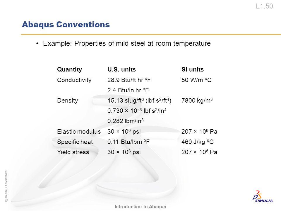L1.50 Introduction to Abaqus Abaqus Conventions Example: Properties of mild steel at room temperature QuantityU.S. unitsSI units Conductivity28.9 Btu/