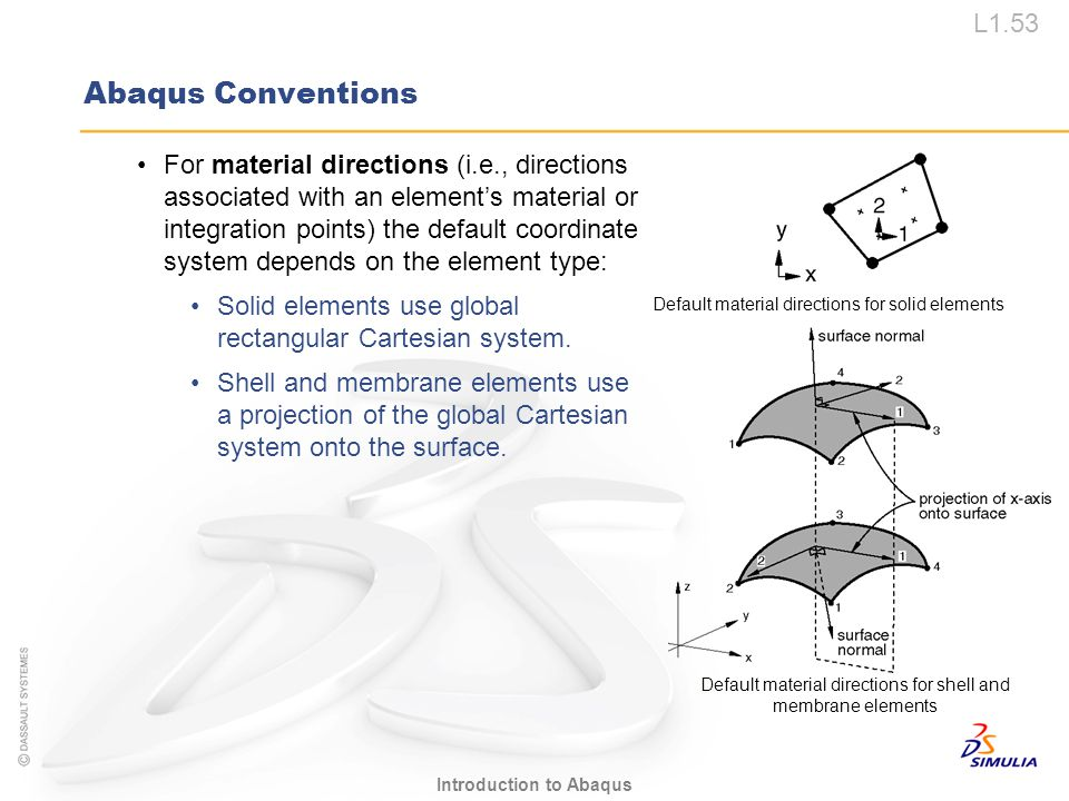 L1.53 Introduction to Abaqus Abaqus Conventions For material directions (i.e., directions associated with an element's material or integration points)