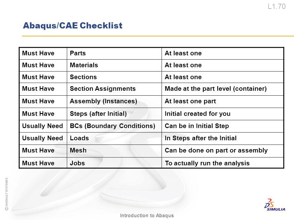 L1.70 Introduction to Abaqus Abaqus/CAE Checklist Must HavePartsAt least one Must HaveMaterialsAt least one Must HaveSectionsAt least one Must HaveSec