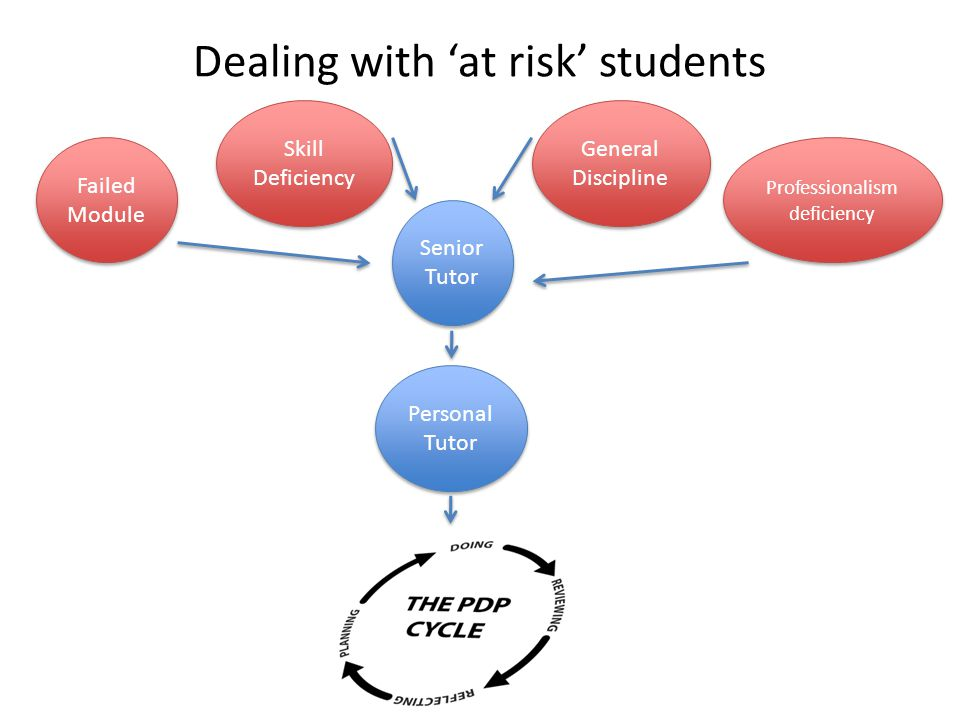 Dealing with 'at risk' students Senior Tutor Skill Deficiency Failed Module Professionalism deficiency General Discipline Personal Tutor