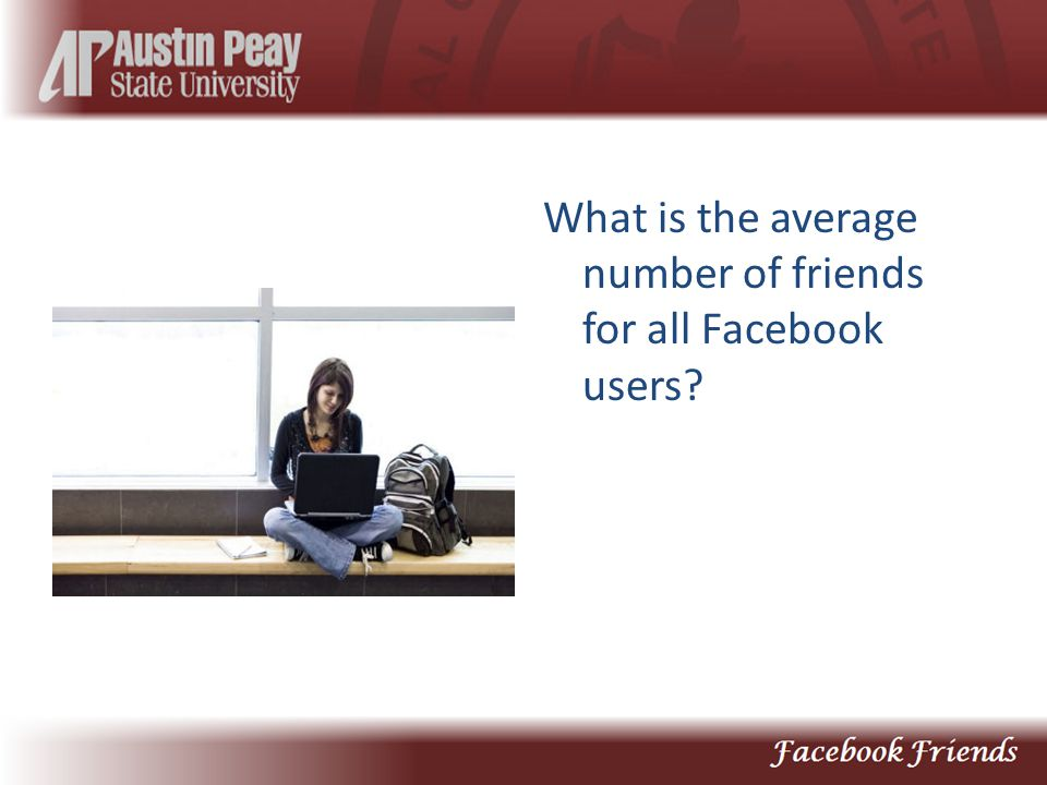 What is the average number of friends for all Facebook users