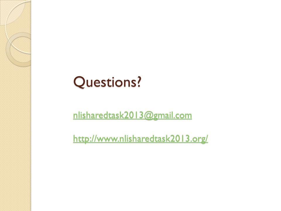 Questions? nlisharedtask2013@gmail.com http://www.nlisharedtask2013.org/ nlisharedtask2013@gmail.com http://www.nlisharedtask2013.org/ nlisharedtask20