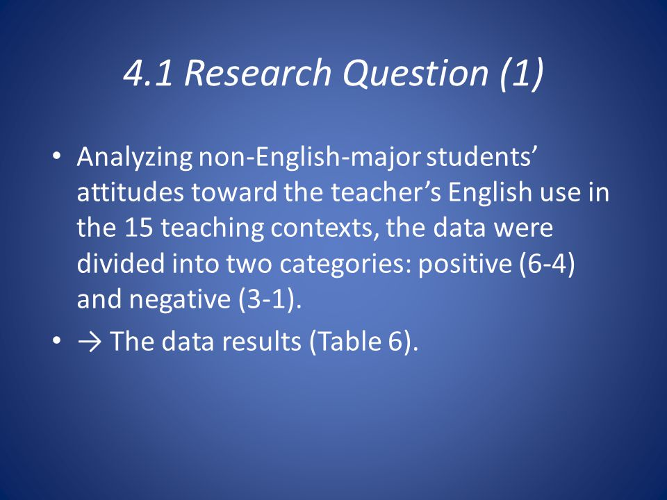 4.1 Research Question (1) Analyzing non-English-major students' attitudes toward the teacher's English use in the 15 teaching contexts, the data were divided into two categories: positive (6-4) and negative (3-1).